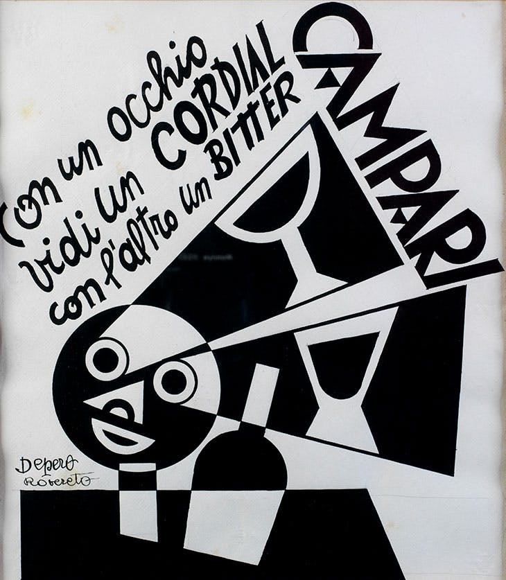 With one Eye I saw a Cordial with Another a Bitter Campari (1928), Fortunato Depero.