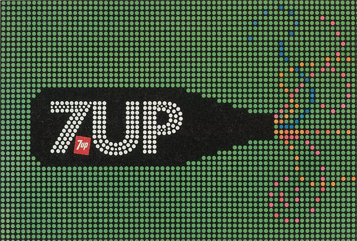 7 Up billboard design for 'See the Light' Campaign (c. 1975), Goldsholl Design Associates.