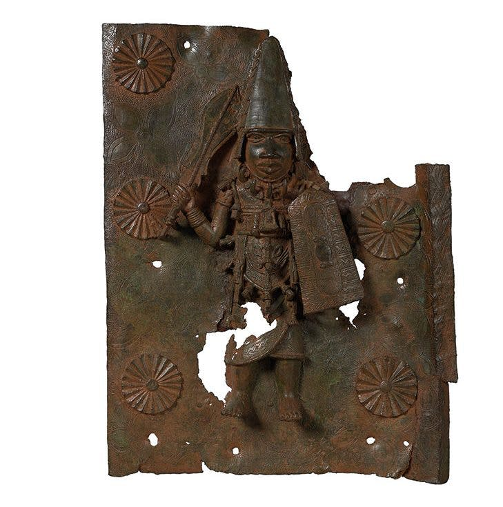 Rectangular brass plaque depicting Agban, the Ezomo (Deputy Commander in Chief of the Benin army) (c. 1578), Edo, Benin City.