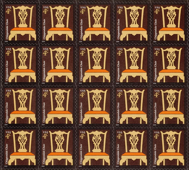 Sheet of Chippendale chair postage stamps, issued by the United States Postal Service in 2004.