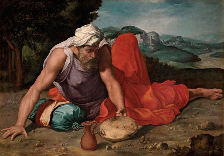 Elijah in the desert (1543–47), Daniele da Volterra.