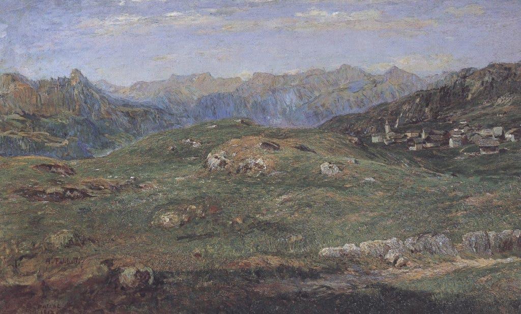 In alta pace. Tramonto, c. 1912. Alberto Falchetti, Galleria d'Arte Moderna, Turin