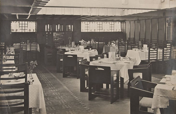 The Back Room of the Willow Tea Rooms, Glasgow, designed by Charles Rennie Mackintosh in 1903.