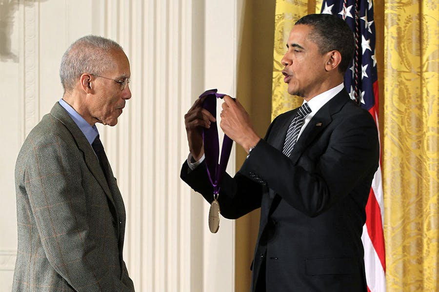 Martin Puryear receiving a 2011 National Arts and Humanities Medal from then-US President Barack Obama.