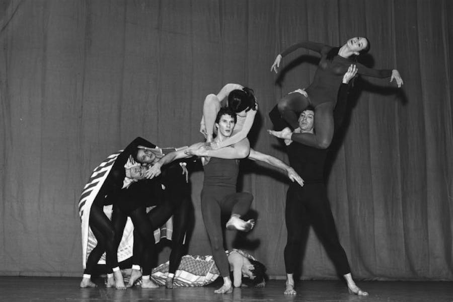 Paul Taylor's dance company rehearsing at the Shaftesbury Theatre in London, November 1964.