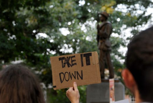 Protests against the statue of 'Silent Sam' on the campus of the University of North Carolina at Chapel Hill, August 2017.