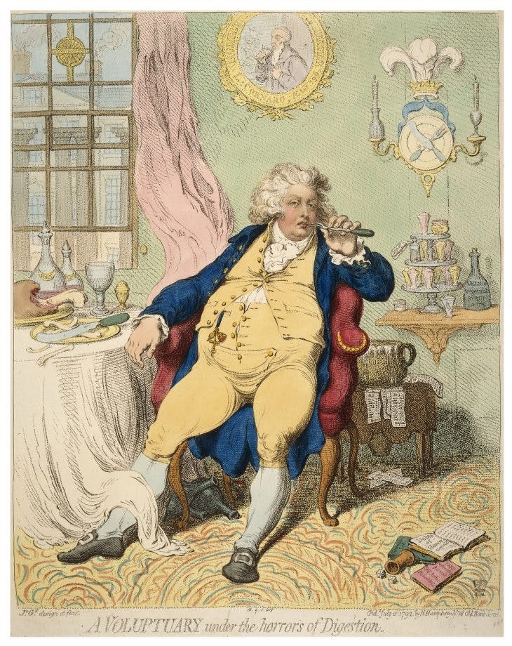 A Voluptuary under the horrors of Digestion, James Gillray