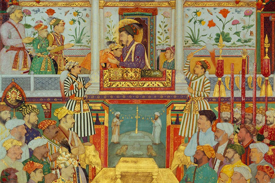 Shah Jahan receives his three eldest sons and Asaf Khan during his accession ceremonies from the Padshahnama manuscript (detail; c. 1630–40), Bichitr and Ramdas, Mughal.