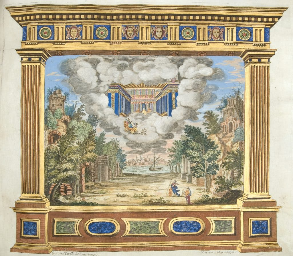 Scene design by Giacomo Torelli for 'A deserted island with the Temple of Venus in the Sky', Act II, Scene 3 in 'Bellerofonte', 1642, Giovanni Giorgi, Collection of the Tobin Endowment, San Antonio, Texas