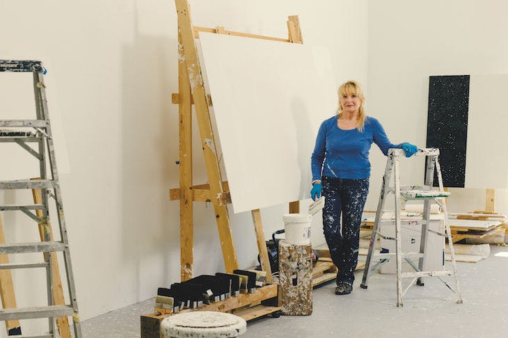 Mary Corse (b. 1945) photographed in her studio in Topanga Canyon, California