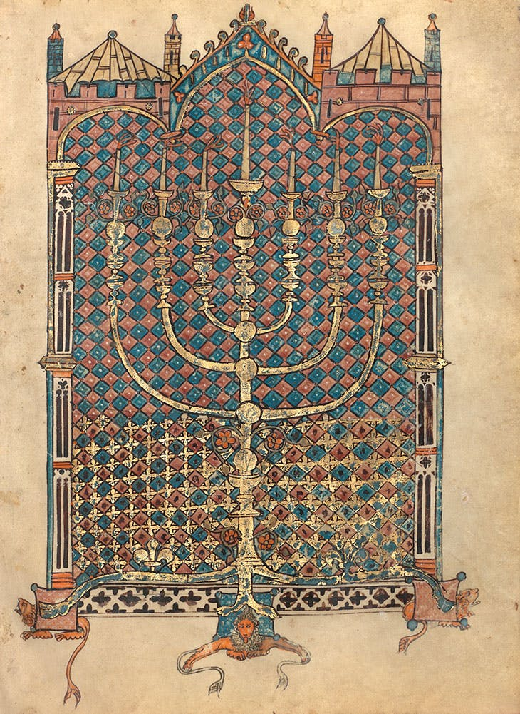 Menorah of the Tabernacle (Book of Leviticus), from the Rothschild Pentateuch (1296), France and/or Germany