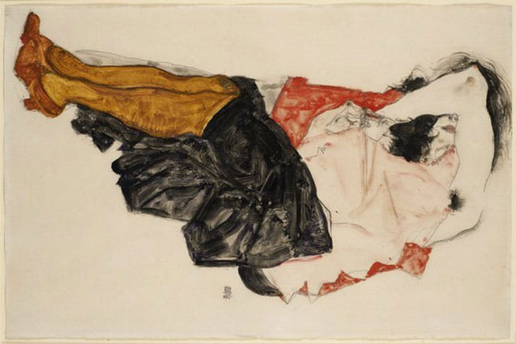 Egon Schiele's Woman Hiding Her Face (1912), formerly owned by Fritz Grünbaum. In April a New York judge ruled that the drawing was Nazi-looted and that it be returned to Grünbaum's heirs.