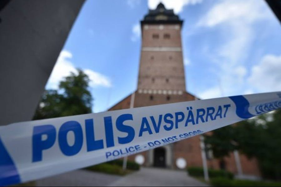 Cordoned crime scene at Strängnäs cathedral, west of Stockholm.