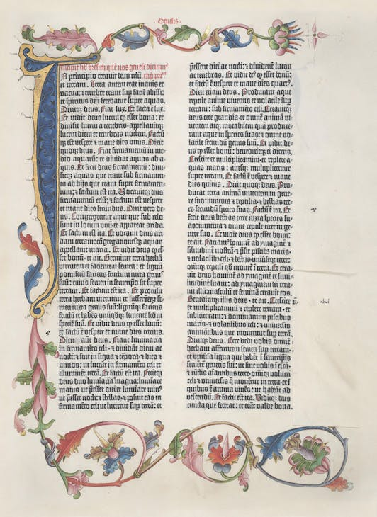 Page from the Gutenberg Bible (vol. 1, fol. 5r), 1454, printed by Johannes Gutenberg