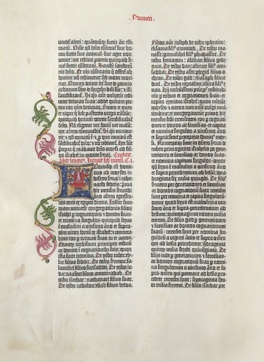 Page from the Gutenberg Bible (vol. 1, fol. 5r), 1454, printed by Johannes Gutenberg.