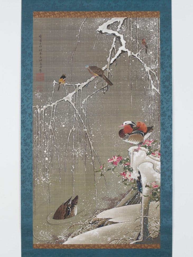 Mandarin Ducks in the Snow, Jakuchū