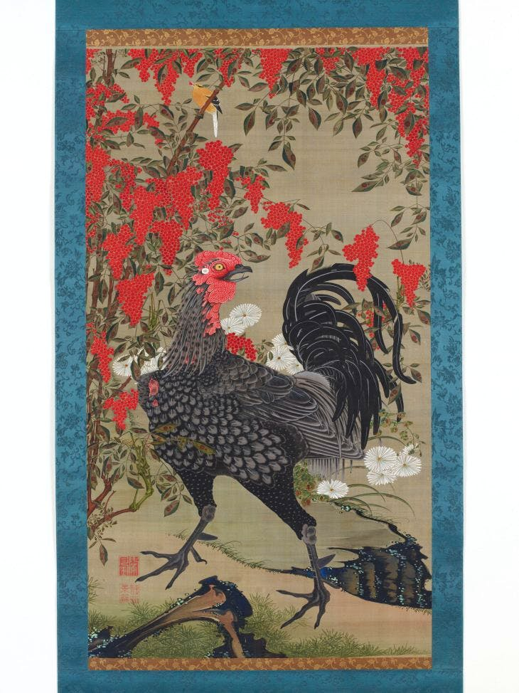 Black Rooster and Nandin, Jakuchu