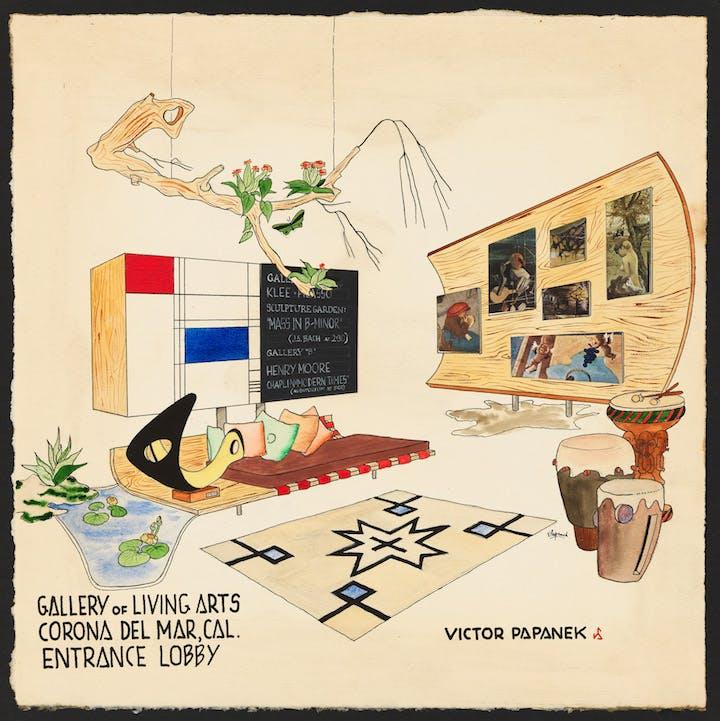 'Gallery of Living Arts, Corona Del Mar, CA, Entrance Lobby', design for exhibition space, 1949-52, Victor Papanek. © University of Applied Arts Vienna, Victor J. Papanek Foundation