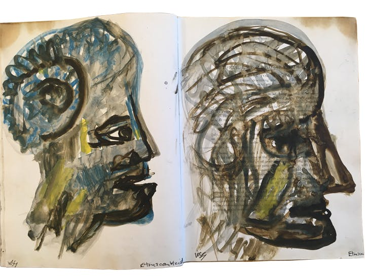 Drawings of an Etruscan head by W.S. Graham over the pages of 'Artificial Limbs: For Use After Amputation and Congenital Deficiencies' by F.G. Ernst (1923).