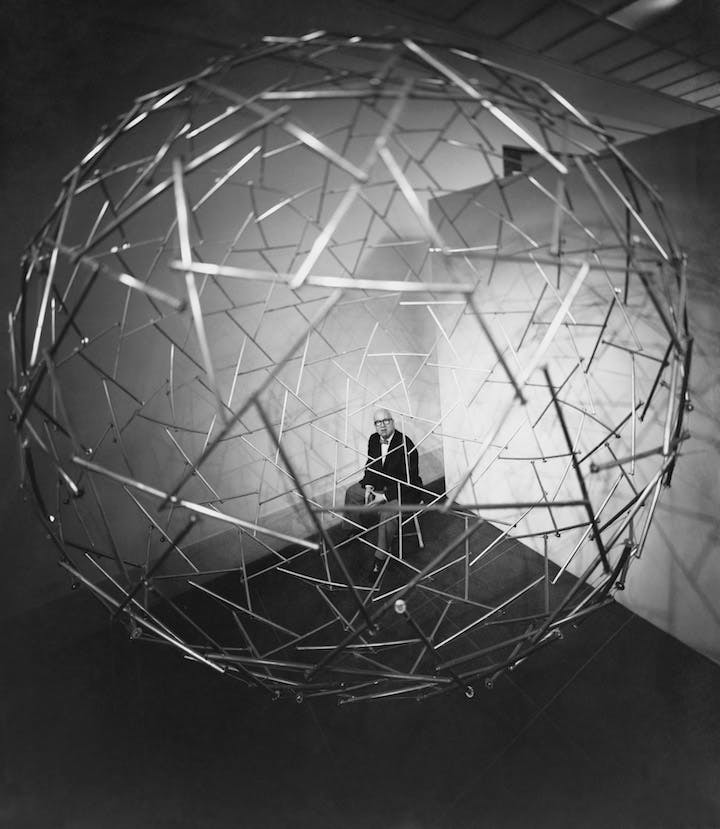 Tensegrity Sphere, at Expo 67 in Montreal, Canada, 1967, Richard Buckminster Fuller. ©The Estate of R. Buckminster Fuller; courtesy Science Photo Library, photo: Hans Namuth