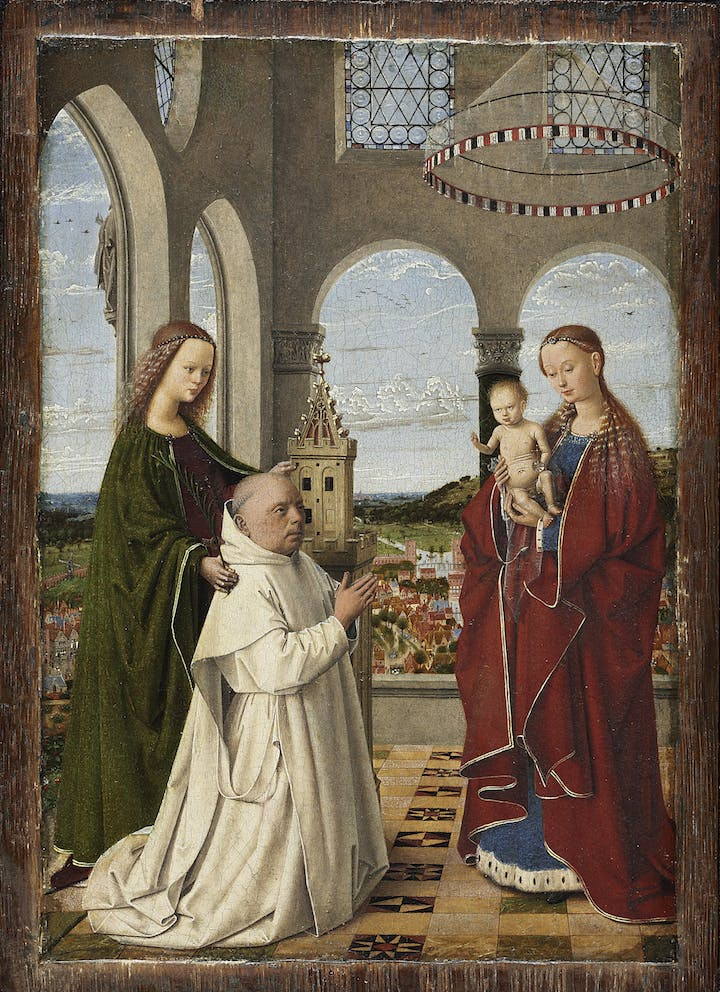 The Virgin and Child with St. Barbara and Jan Vos (ca. 1450), Petrus Christus. Staatliche Museen zu Berlin, Gemäldegalerie