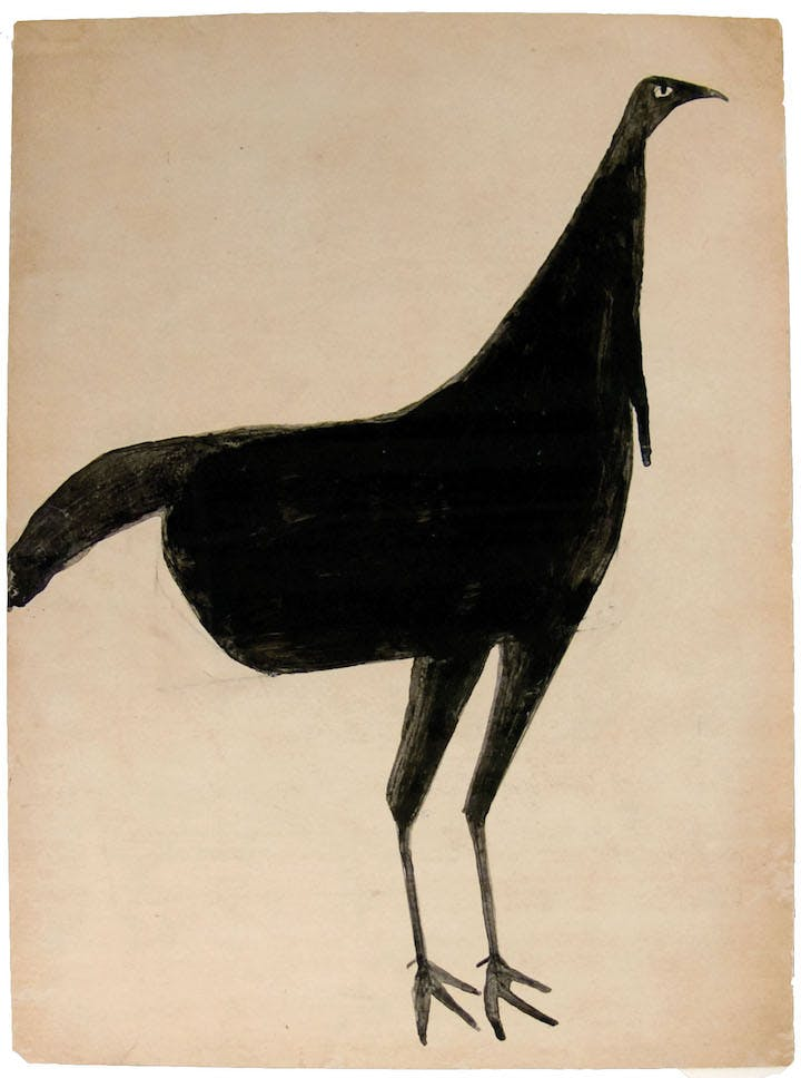 Black Turkey (ca. 1939-42), Bill Traylor. The LucasKaempfer Foundation. Image courtesy the Betty Cuningham Gallery