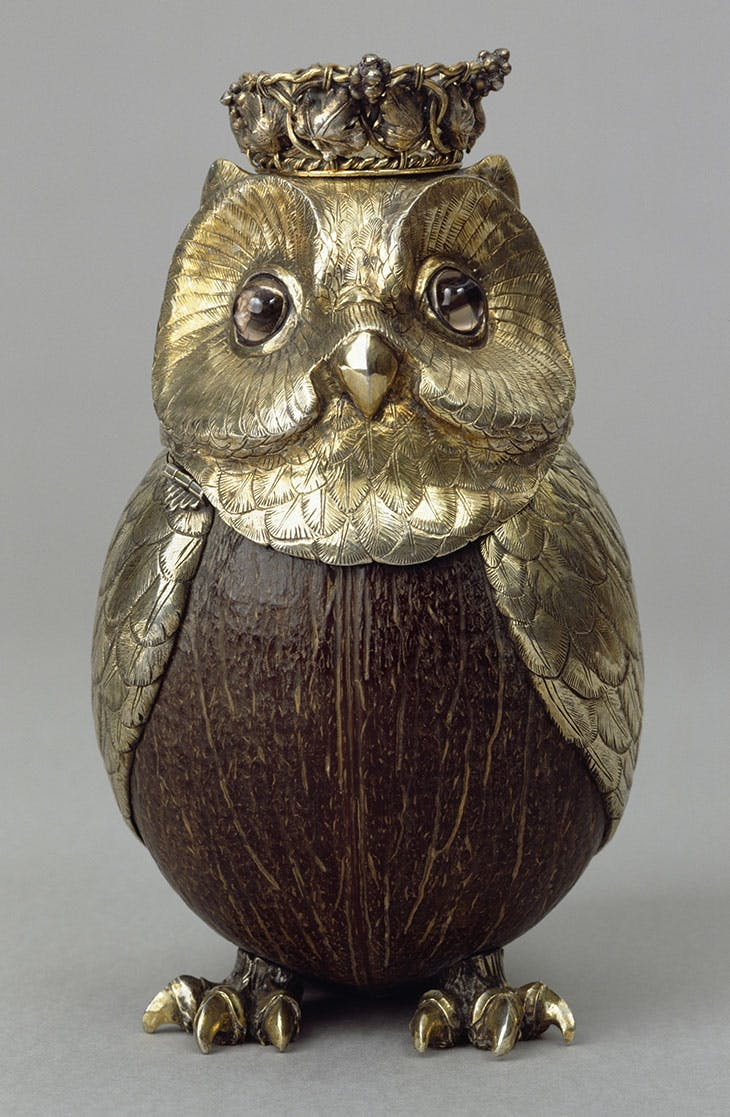 Silver-gilt coconut cup formed as an owl (19th century), Germany.