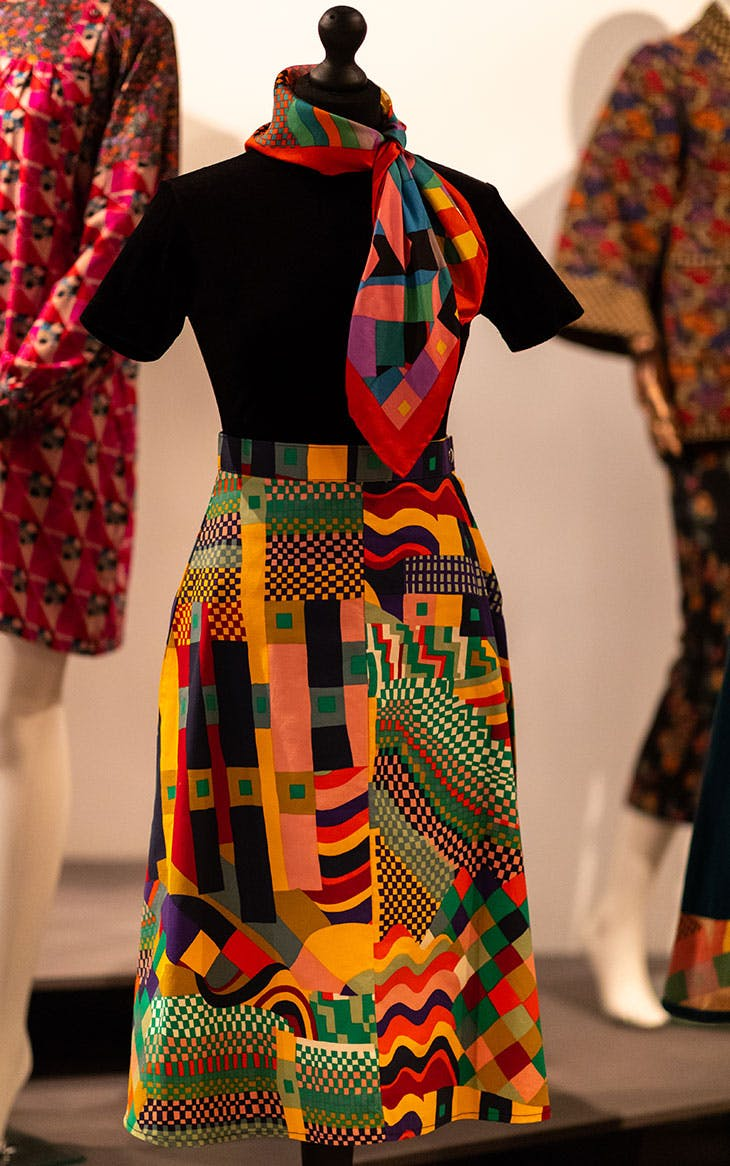 Skirt and scarf in Liberty Bauhaus print (mid 1970s), Dollyrockers.