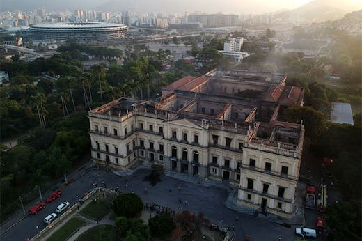 The National Museum of Brazil in Rio de Janeiro, photographed on 3 September 2018, a day after a fire devastated the building.