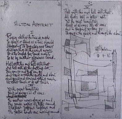 'Hilton Abstract' (1956) by W.S. Graham, featuring a geometric pattern at the end of the manuscript. Published in The Nightfisherman, Michael and Margaret Snow (eds.), Manchester: Carcanet, 1999.
