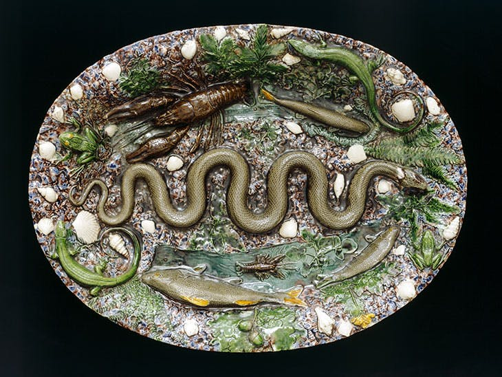 Oval dish with moulded eel, fish and crab (1565–75), France.