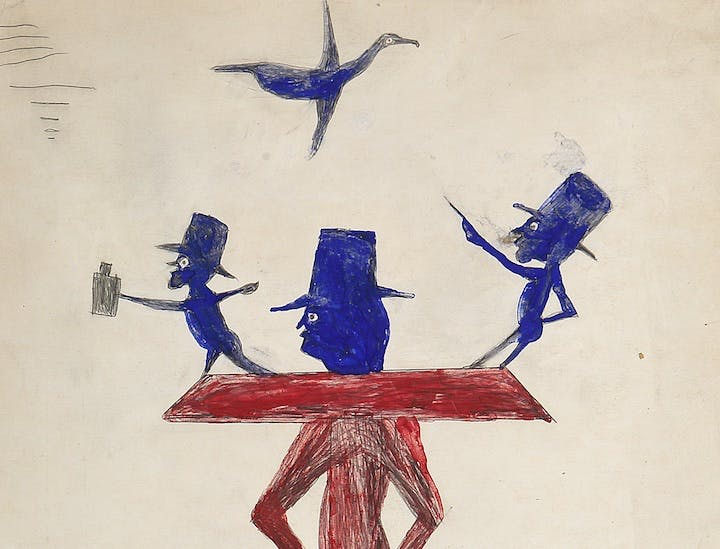 Man with Yoke (detail; ca. 1939-42), Bill Traylor. Photo by Bonnie H. Morrison, NYC