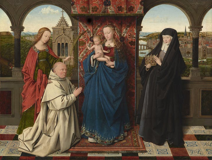 The Virgin and Child with St. Barbara, St. Elizabeth, and Jan Vos (ca. 1441–43), Jan van Eyck. The Frick Collection, New York, Photo: Michael Bodycomb