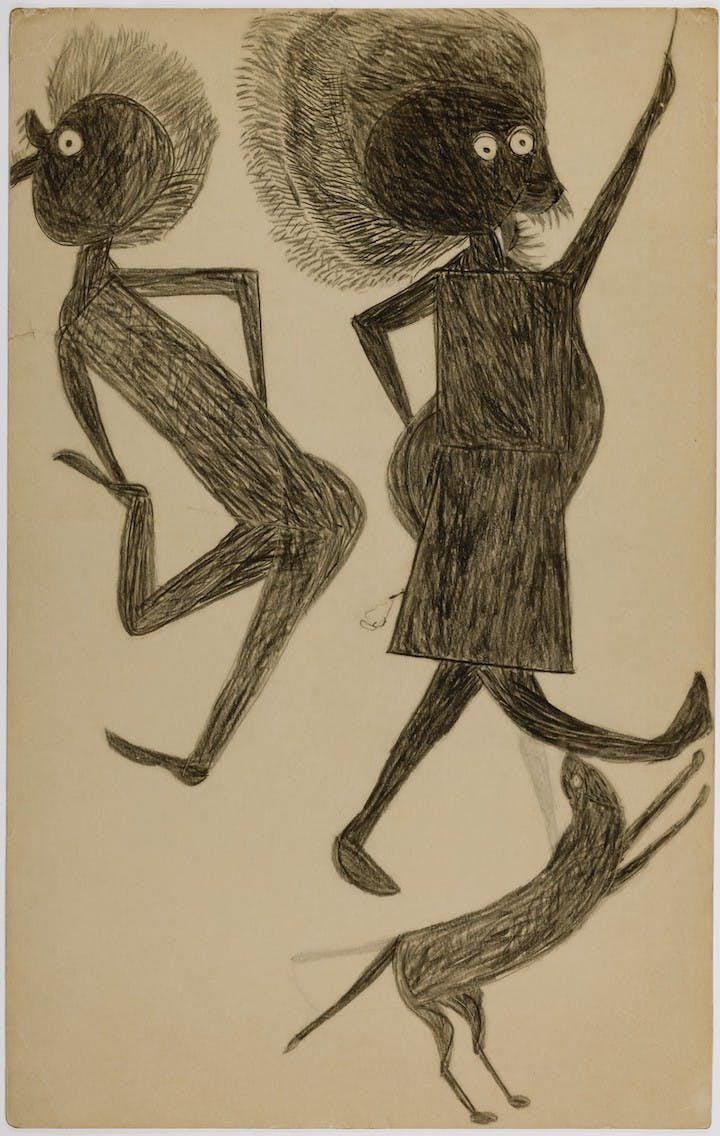 Untitled (Man, Woman, Dog) (1939), Bill Traylor. Smithsonian American Art Museum, Photo by Gene Young