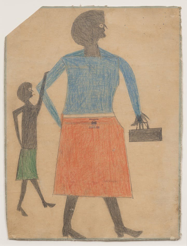 Mother with Child (ca. 1939-42), Bill Traylor. Photo by James Prinz, Chicago