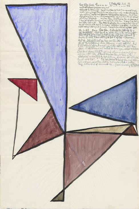 Letter to Alan Clodd from W.S. Graham, decorated with overlapping triangles, early 1955.