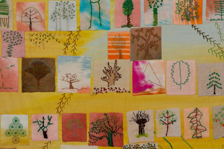Stitch A Tree (detail) (2017–18), contributions from various individuals from across the world.