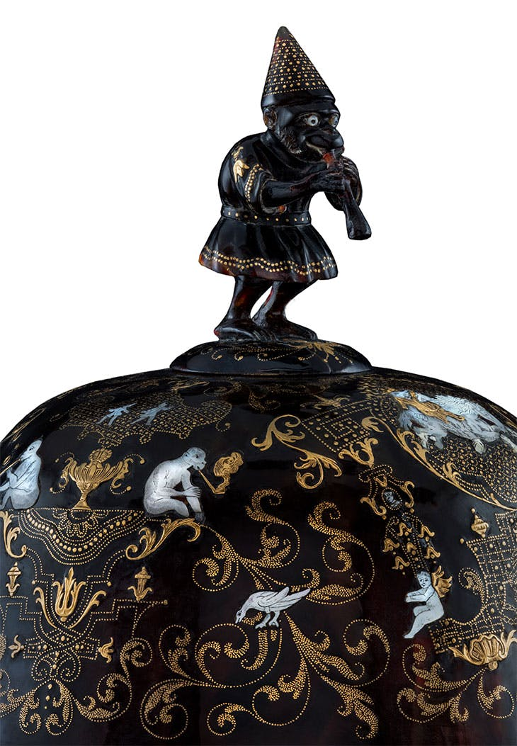 Lidded goblet with monkey playing the flute (detail; c. 1730–40), attrib. to Giuseppe Sarao.