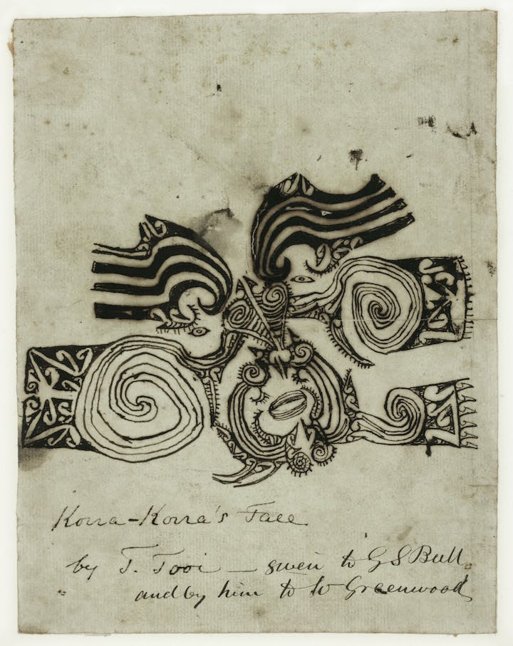 Tooi [Tuai], Drawing of Korokoro's moko, 1818. Sir George Grey Special Collections, Auckland Libraries
