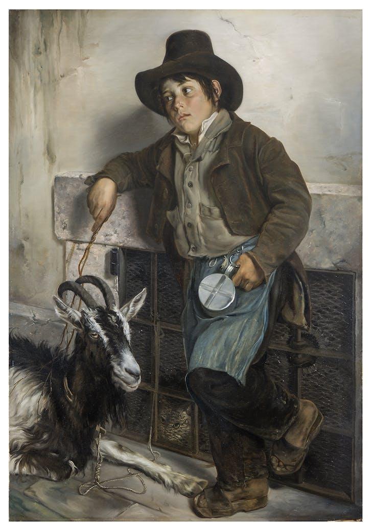 Street urchin with goat selling milk, Giuseppe Molten