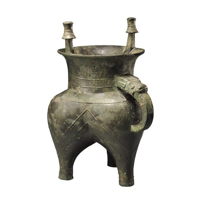 Ritual tripod wine vessel (Jia), early Western Zhou dynasty (c. 1046–771), China.