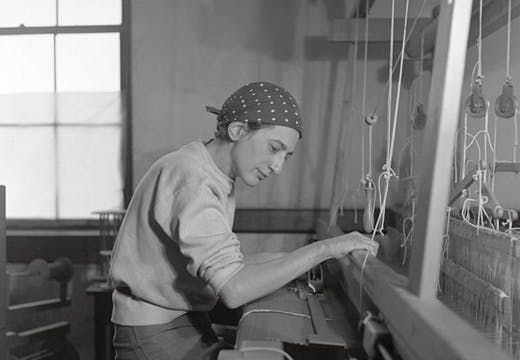 Anni Albers photographed at her weaving studio at Black Mountain College in 1937 by Helen M. Post, Photo: courtesy the Western Regional Archives, State Archives of North Carolina