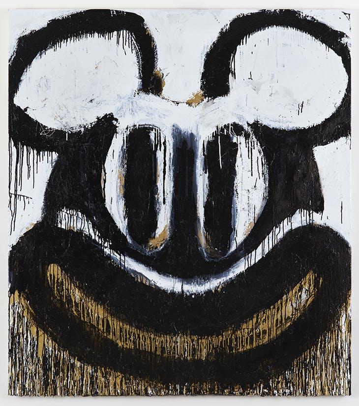 Black and White Mickey (2018), Joyce Pensato.