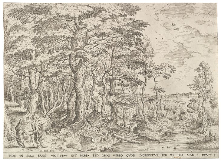 Landscape with the Temptation of Christ, Hieronymus Cock, after Pieter Bruegel the Elder
