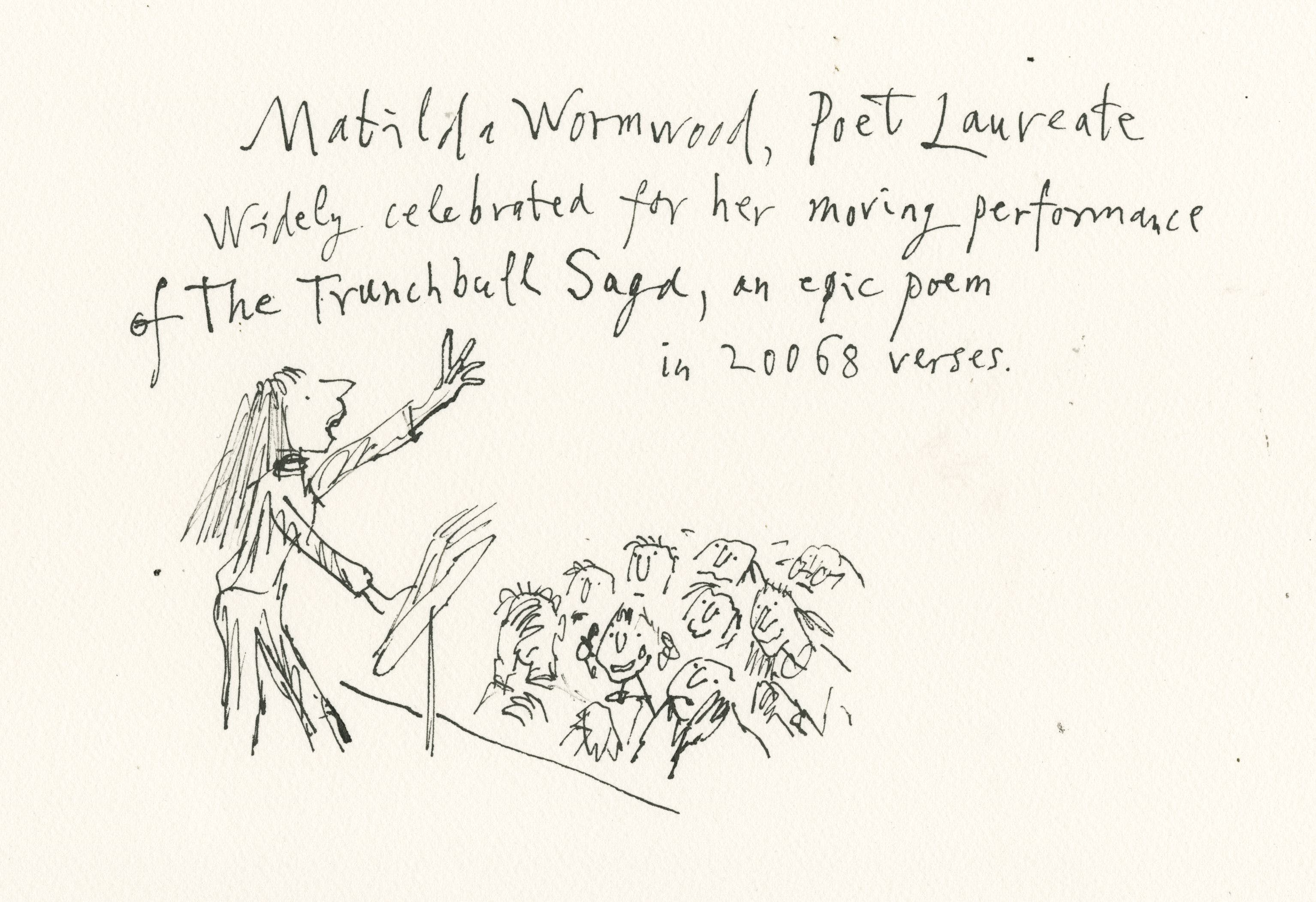 Matilda Wormwood as an astrophysicist, as imagined by Quentin Blake