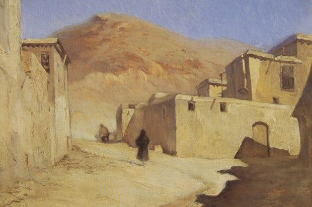 Toward Damascus at the Foot of Mount Qassioun, Muhajreen Quarter, c. 1933, Mustafa Farroukh, Collection Hani Farroukh