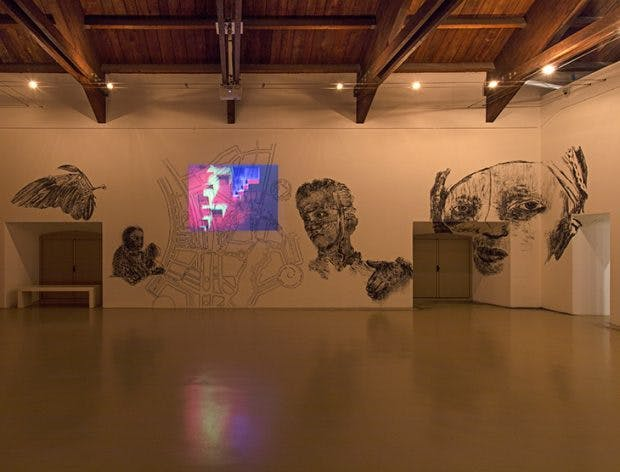 Installation view of 'City of Desires – Global Parasites' (2008) by Nalini Malani at Castello di Rivoli Museo d'Arte Contemporanea, Rivoli-Torino. Photo: Antonio Maniscalco