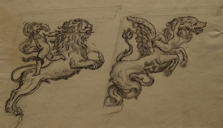 Two designs for brackets (18th century), Massimiliano Soldani Benzi