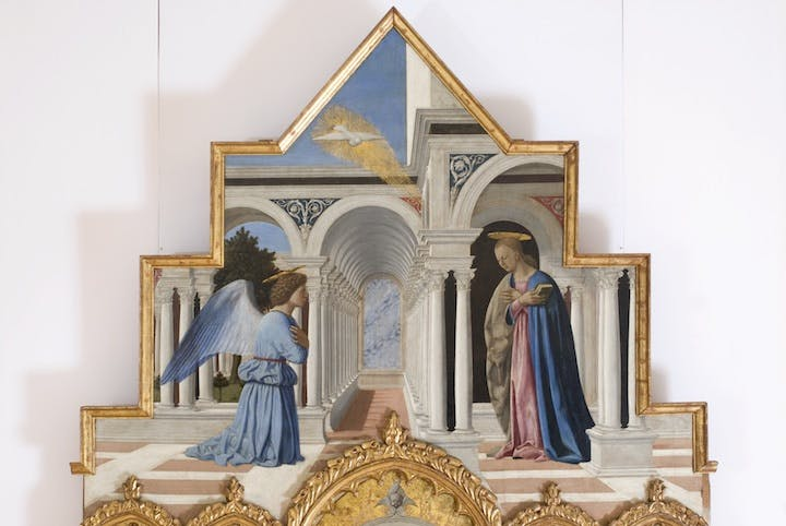 Annunciation of Virgin Mary (1467–68; moulding of Saint Anthony's polyptic), Piero della Francesca. Courtesy of Umbria National Gallery, Perugia