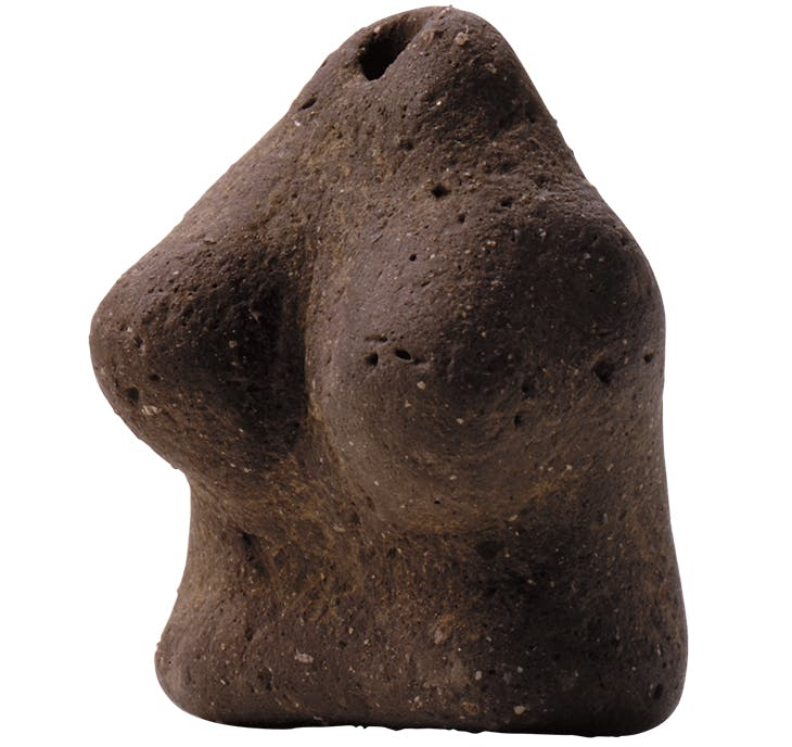 Dogu (clay figurine), incipient Jomon period (11,000–7,000 BC), from Aidan Kumahara site, Higashiomi-shi, Siga. Shiga Prefecture Board of Education